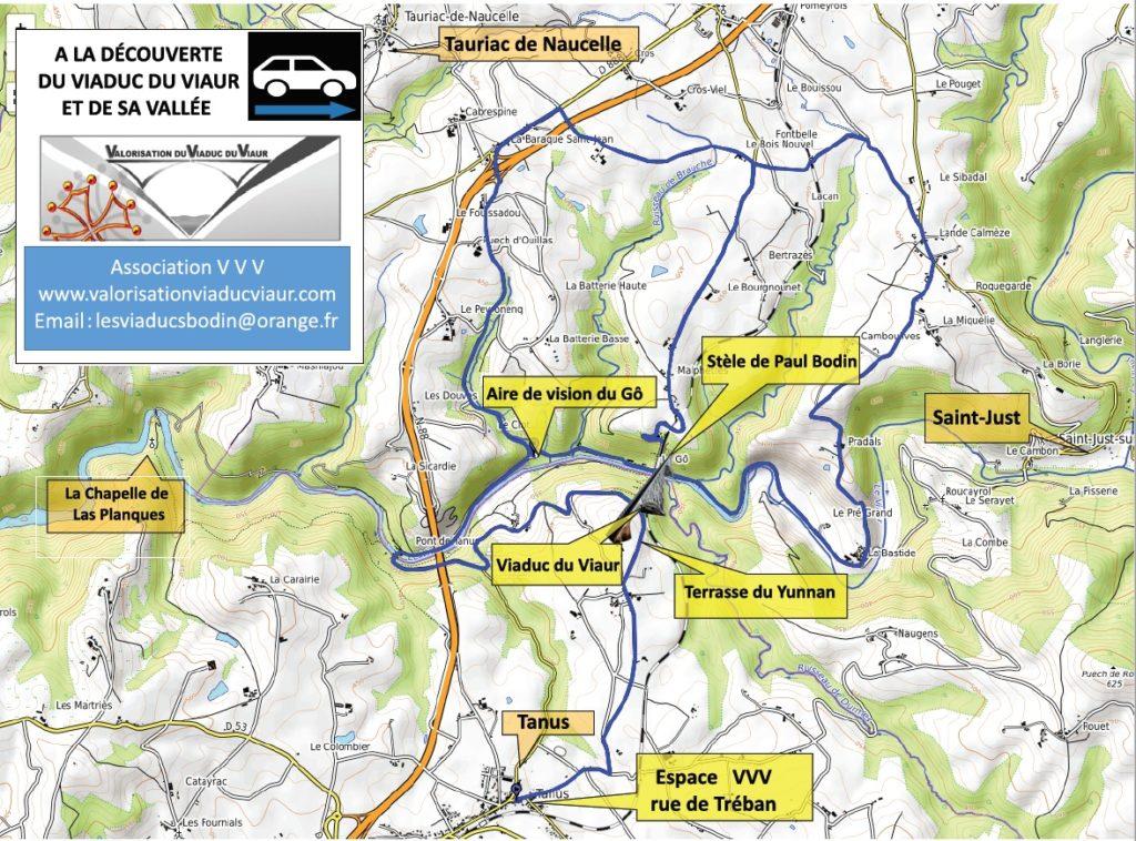plan du cicuit visite en voiture du site du Viaduc du Viaur