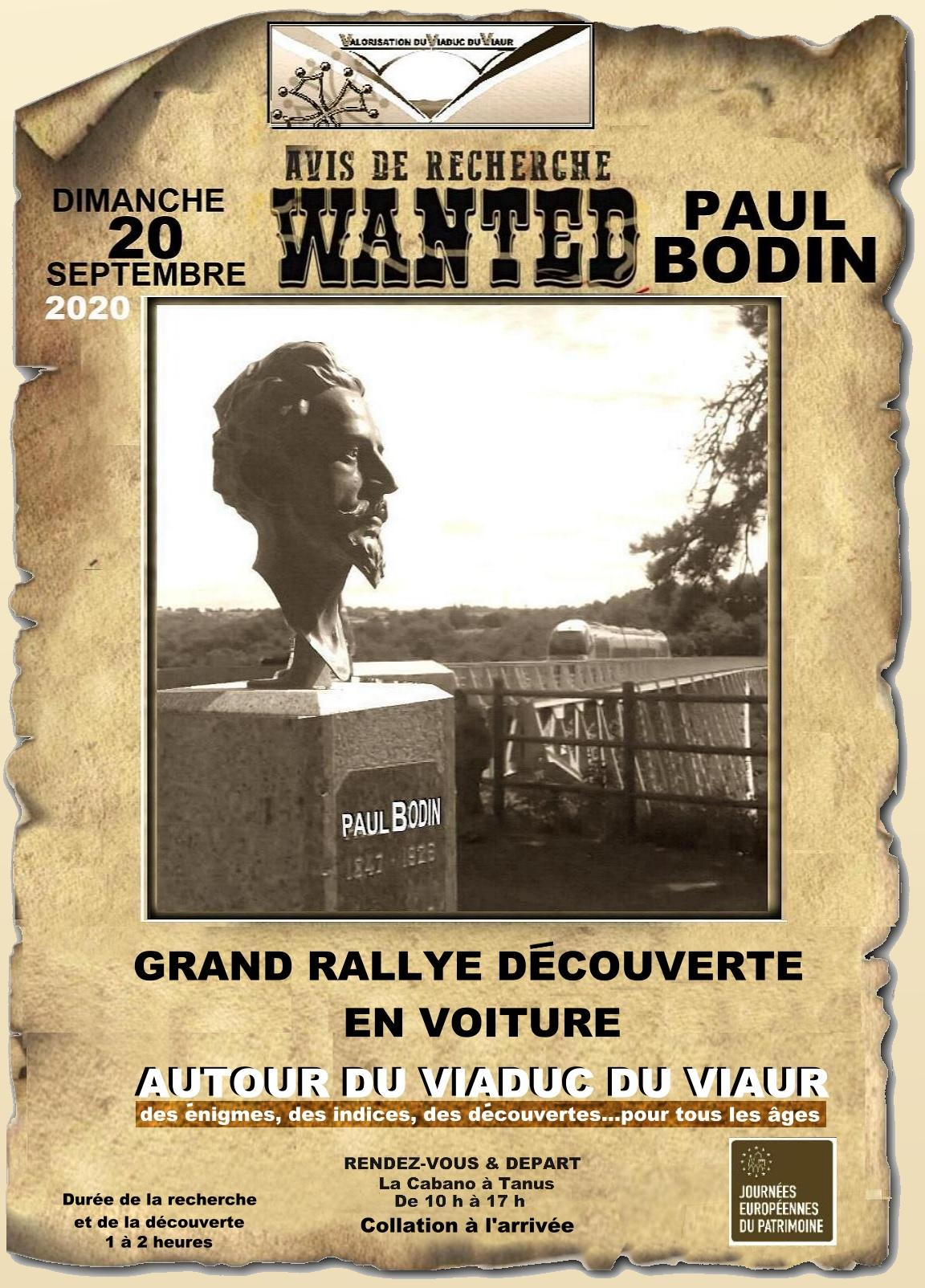 affiche du grand rallye découverte autour du Viaduc dViaur le 20 septembre 2020