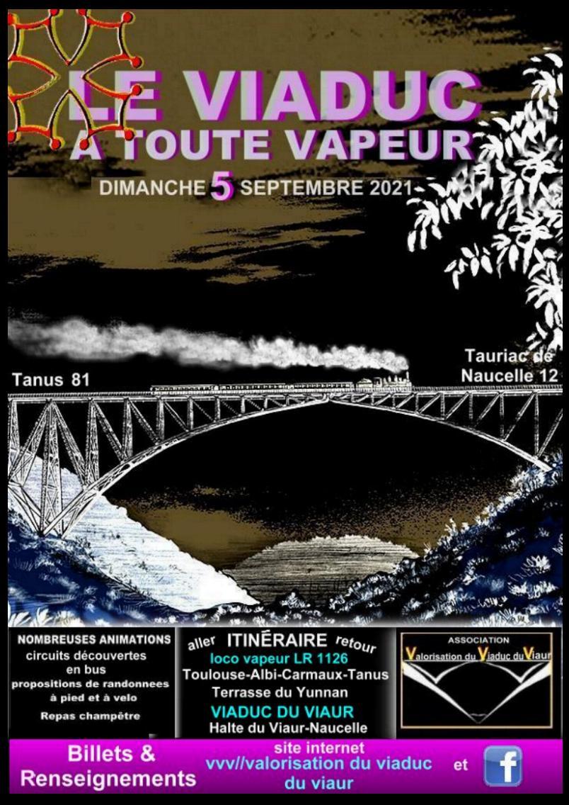 voyage en train à vapeur sur le Viaduc du Viaur